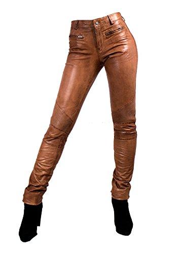 Unbekannt Yonna Damen Lederhose aus echtem Lamm Nappa Leder in diversen Farben (Cognac, 2XL)