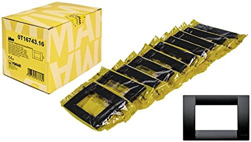 Vimar Idea 0T16743.16 Placca Classica 3 moduli in tecnopolimero, 10 pezzi, nero