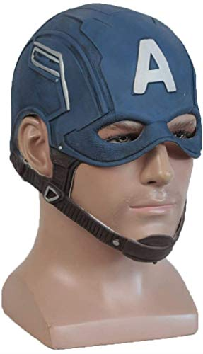 XDHN Capitán América, Guerra Civil, Máscara De Látex Capitán América Marvel Avengers Capitán América 3 Máscara Cos Accesorios De Casco De Halloween, Azul, Talla Única