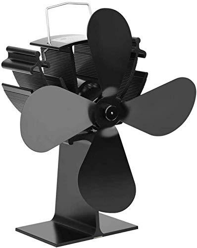 Ventilador De Estufa Impulsado por Calor Ventilador De Estufa con 4 Aspas Ventiladores De Estufa Impulsados por Calor para Estufa De Leña Chimenea Silenciosa Ecológica Negro