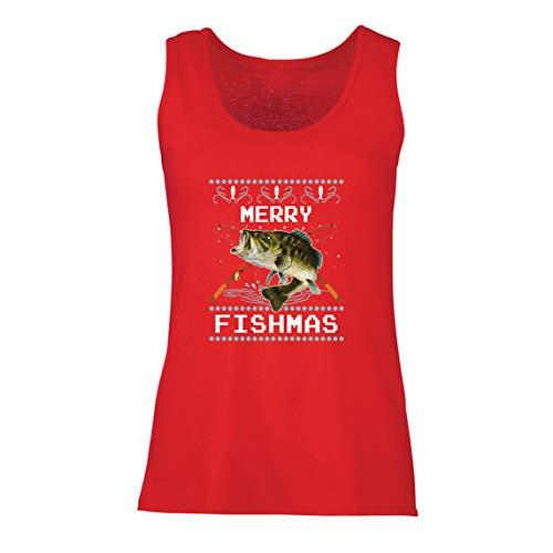 lepni.me Camisetas sin Mangas para Mujer Feliz Navidad Peces Gracioso Regalo para el Amante de la Pesca