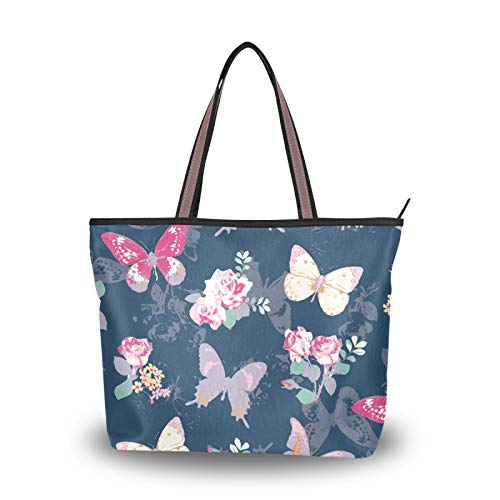 NaiiaN Bolsos de mano con correa de peso ligero, bolso de mano para mujeres, niñas, estudiantes, mantequilla, mosca, rosa, bolsos de hombro, monedero, compras