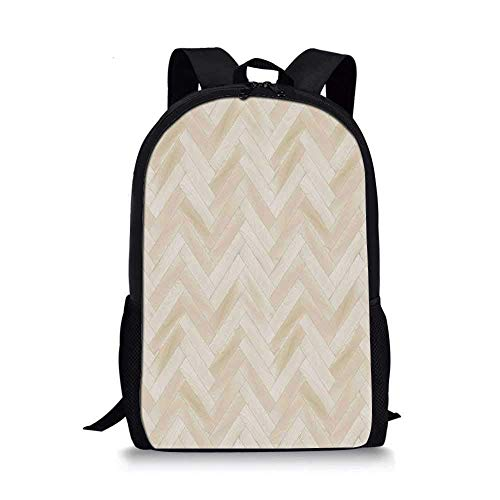 AOOEDM Backpack Beige Stilvolle Schultasche, realistischer Holzboden Chevron Eiche Parkett Artprint Urban Modern Diagonal Dekorativ Home Dekorativ für Jungen, 11 '' L x 5 '' B x 17 '' H.