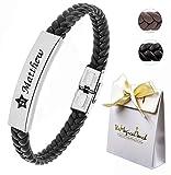 TMT® Personalised Men's Leather Bracelet Adjustable Size For Dad ID Identity Birthday Name Engraved Black/Brown Best Men