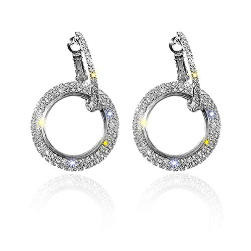 925 Sterling Silver Double Circle Hoop Earrings Small Punk Huggie Earrings with Diamond Birthday Party Decoration Gifts for Women Girl Girlfriend (silver)