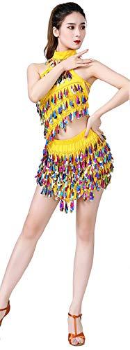 MEIGUI Traje De Danza del Vientre De Las Mujeres Danza del Vientre Sujetador Y Bufanda De Cadera Y Collar Conjunto Lmpara De Lmpara De Lentejuelas Sexy Traje De Baile Pro Yellow-One Size