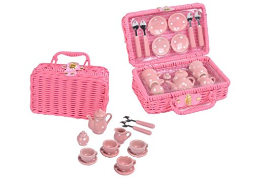 Think Pink Spotty 17pc Tea Set in Basket