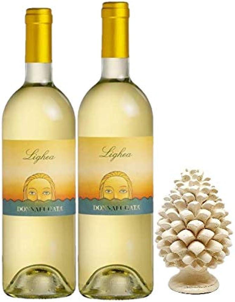 sicilia bedda lighea,2 bottiglie di zibibbo sicilia doc donnafugata, piu` pigna siciliana in ceramica