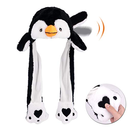 Hopearl Penguin Hat with Ears Moving Jumping Pop Up Beating Hat Plush Holiday Cosplay Dress Up Funny Gift for Kids Boys Girls, Black, 22''