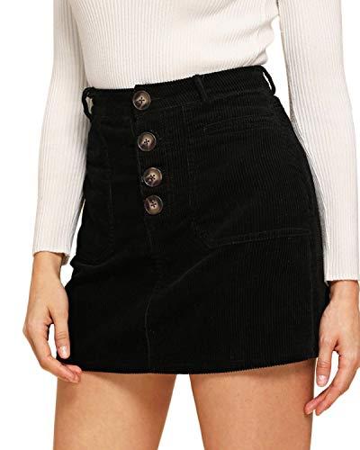 VONDA Casual Faldas De Cintura Alta Lápiz Mini Falda Botón Básico Flare Falda Corta Con Cremallera