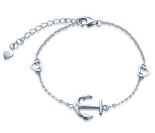 Unendlich U Damen Mädchen Anker Armband 925 Sterling Silber Zirkonia mit Zwei Herzen Armkette Verstellbar Charm Armband