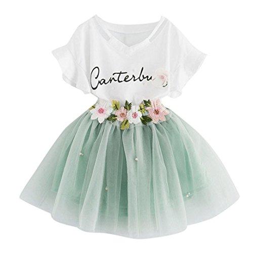 Robe de Princesse Fille,Manadlian B/éb/é Filles 1Set Impression T-Shirt Bowknot Jupe Courte pour Filles 2-7 Ans