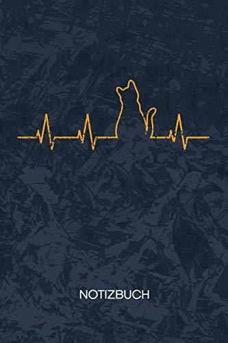NOTIZBUCH: A5 Kariert - Katzenhalter Heft - Katzen Notizheft 120 Seiten KARO - Kätzchen Herzklopfen Notizblock Katzen Herzschlag Motiv - Katzenfreund Geschenk