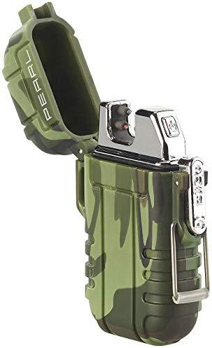 PEARL USB Feuerzeug: Elektronisches Feuerzeug mit doppeltem Lichtbogen, Akku, IP56, grün (Lichtbogen-USB-Feuerzeug)
