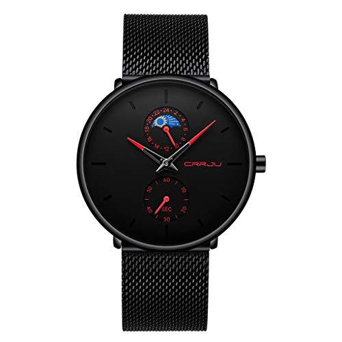 Herren Armbanduhr | Luotuo Einfach Mode Wasserdicht Quarzuhr |Ø42mm Zifferblatt mit Schwarzer Edelstahl Mesh Uhrenarmbänder Geschäft Sport Freizeit Watch