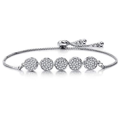 JJDSL Metalen Armband, Mode Verstelbare Eenvoudige Zilveren Ring Crystal Hanger Armband Elegante Bedel Bangle Crystal Manchet Vrouwen Sieraden Geschenk, Voor Vrouw Moeder Jezelf Studenten Grootmoeder
