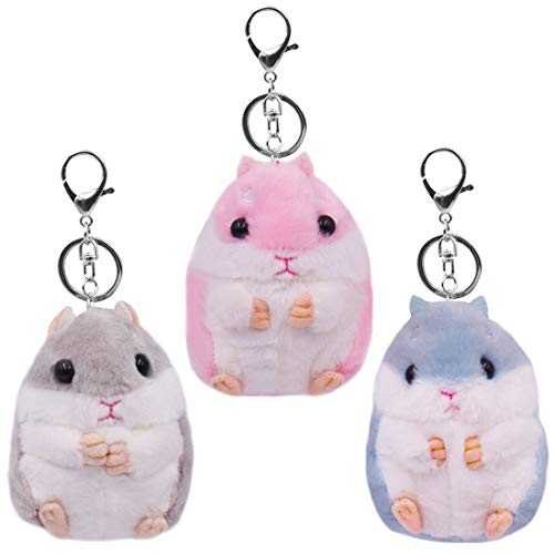 Plush Hamster Keychain - ZSWQ Cute Hamster Keyring, Pendant Keychain and Plush Pendant Keychain, 3pcs (Pink, Light Gray, Sky Blue)