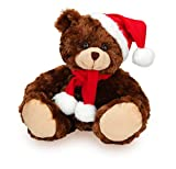 Made By Aliens 6 Inches Xmas Chocolate Adorable Soft and Hairy Santa Teddy Bear with Hat and Scarf, Stuffed Animal Holiday Toys Christmas Accessories – A Perfect Toy Gift for Friends