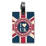 Etiqueta de identificación para Maleta con la Bandera del Reino Unido con Texto en inglés I Love The United Kingdom Union Jack
