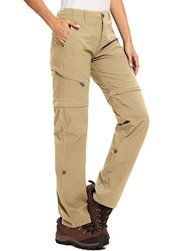 Pantaloni da trekking da donna, traspiranti, traspiranti, ad asciugatura rapida, per attività all aperto, rimovibili, funzionali, elasticizzati, estivi, Donna, Kaki leggero, 30