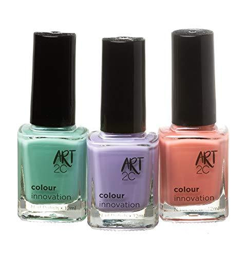 Art 2C Colour Innovation - klassischer Nagellack - 3er-Pack, 3 x 12ml - 3 Pastellfarben