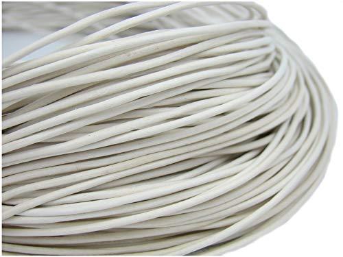 Lederen band, lederen koord, lederen riem 5 m. rond 2,0 mm. wit.