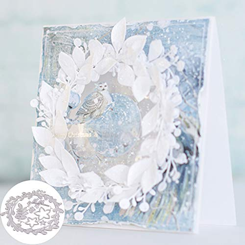 Xmas Flower Garland Cutting Die DIY Scrapbook Paper Cards Making Craft Decor - Silver