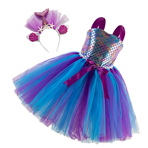 Amosfun Sereia Vestidos de Casamento Da Princesa Festa de Aniversário Dos Miúdos Vestidos de Tutu Vestido Com Headband Sereia para Meninas (59 24 × Cm)
