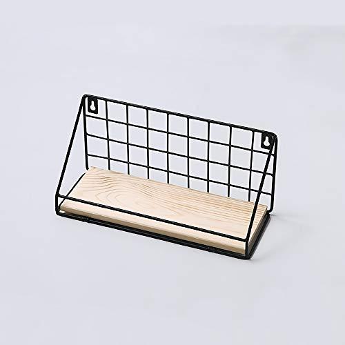 WENCY Storage Rack smeedijzer en hout hek frame ontwerp niet nodig om te ponsen met achterplaat geschikt voor gezinnen