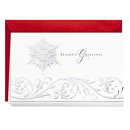 Hallmark Boxed Holiday Cards (Season's Greetings Snowflake, 40 Holiday Cards with Envelopes)
