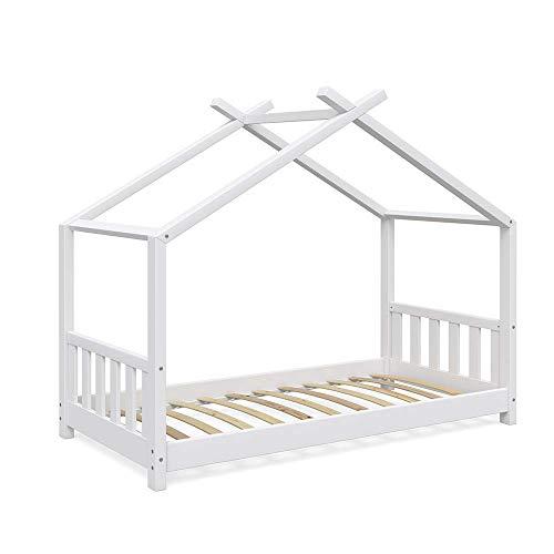VitaliSpa Design Kinderbett Hausbett Kinderhaus Bett Massivholz Holz Holzbett Kinder 80x160 cm Weiß