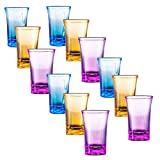 LAVOECO 12 Pack Colored Acrylic Shot Glasses Perfect for Shot Dspenser, Bars, Parties, All Liquor, Tequila, Vodka, Cocktails & Family Game Night (Capacity 1.2 oz Mixed 12 Pack)