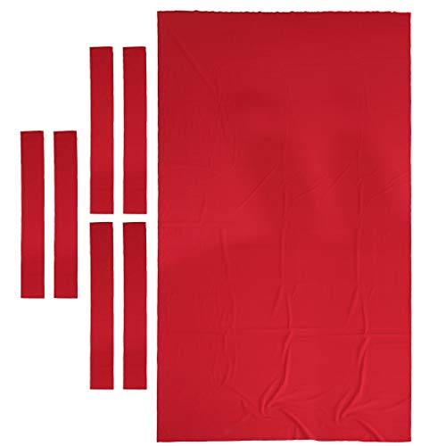 8 ft Pool Table Felt with 6 Pcs Side Strips - Billiard Cloth Replacement - for 8 Foot Table - Billiard Snooker Cloth Perfect for The Casual Player - Red