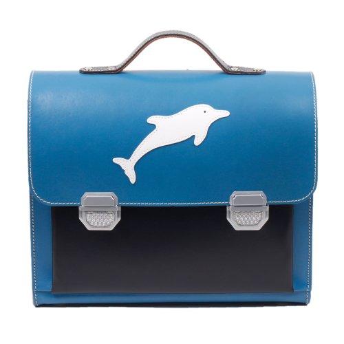 Blaue Leder-Schultasche / Anfängerranzen aus Vollrindleder 3/187 RA-13
