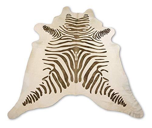 Zerimar Alfombra Piel de Vaca Natural Teñido Cebra | Medidas: 235x210 cm | Alfombra Salón | Alfombra Decoracion | Alfombra Dormitorio | Alfombra Natural