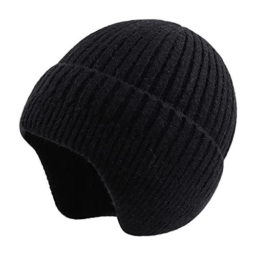 Pesaat - Cappello invernale da uomo con orecchie, coperto, da donna, in acrilico, per adulti, Nero , Taglia Unica