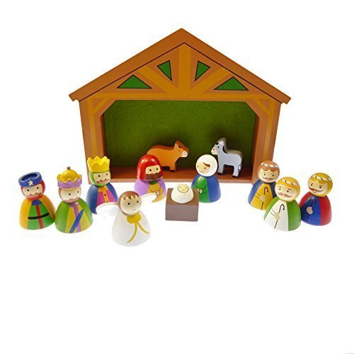C BC Children's Christmas Nativity scene set ornament wood shed Jesus 12 pieces Xmas