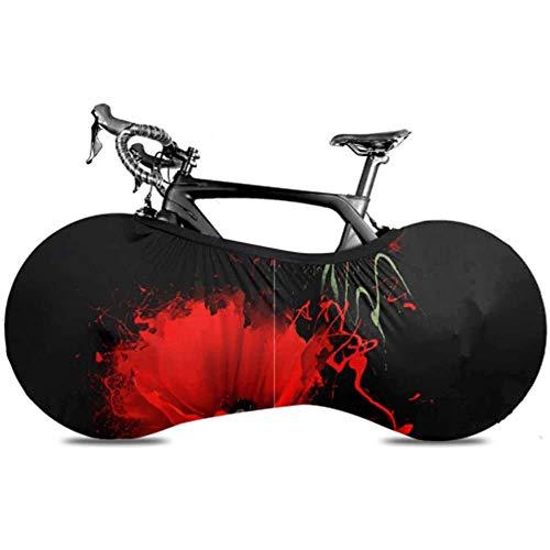 Olive Croft Tre Red Poppy On Black Copertura Bici per Bambini Copertura Bici Pieghevole Copertura Ruota Bici da Strada Adatta a Quasi Tutte Le Biciclette