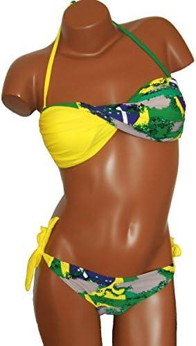 Maillot de Bain Femme Bikini 2 pièces - Couleurs Drapeau Brésil -Jaune - XL(42/44): Amazon.es: Ropa y accesorios