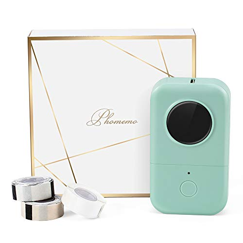 Phomemo D30 Bluetooth Label Maker Machine-with 3 Roll Adhesive Labels,Thermal Portable Label Printer Wireless Sticker Maker, tag Machine Handheld Easy to Use Printing Price,Label,Postal,Kitchen,Green