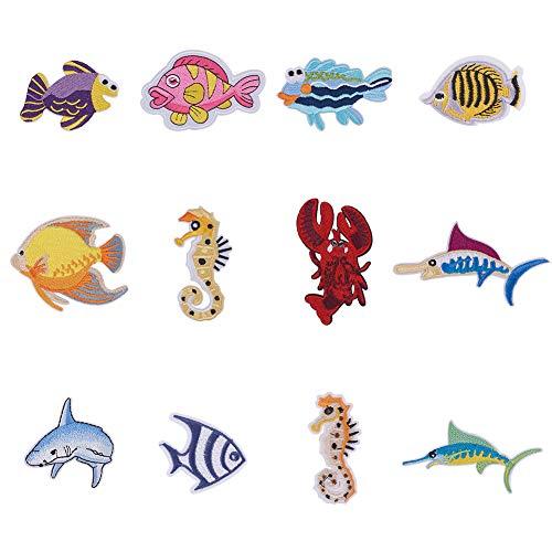 nbeads 24 STK. Meerestiere Zum Aufbügeln, Fisch Hai Hummer Seepferdchen Rayon Stickerei Patches Applikationen Dekorative Reparatur Patches Für Jeans T-Shirt Hut Jacke Tasche Bekleidungszubehör