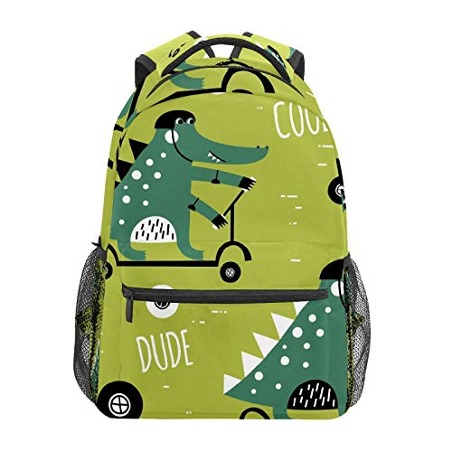 School Backpack Fun Crocodile Ride A Balance Bike Casual Travel Laptop Daypack Canvas Book Bags for Woman Girls Boys Student Adult Men