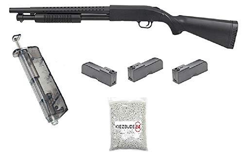 KS-11 Klassische Airsoft Schrotflinte, schwarz - Länge 920mm- Kaliber 6mm - <0,5J - Ink. 3 Magazinen, Speedloader und 6MM Premium BBS - Terminator PUMPGUN - Shot Gun - Softair Pumpguns