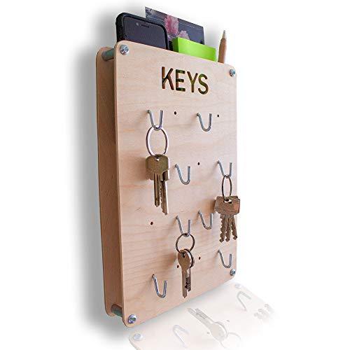 Schlüsselbrett mit Ablage - aus Holz - in Deutschland gefertigt - 30x20cm - 8-12 Schlüssel - verschiedene Farben  Schlüsselboard Schlüsselleiste Vintage rustikal retro
