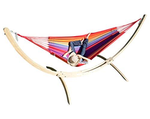 MacaMex Hangmatset Siesta Grande Houten standaard XL met kleurrijke Braziliaanse hangmat Brasil Comfort Verano katoen