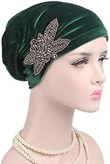YiYi Operation Women's Stretch Velvet Turban Hat Cancer Chemo Beanie Beaded Flower Hair Wrap Cap Headwear