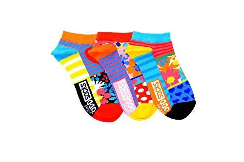 Oddsocks LL Fiona 3er Set bunte Sneaker Socken, Blumen, Herzen, Punkte, Streifen Gr.37-42