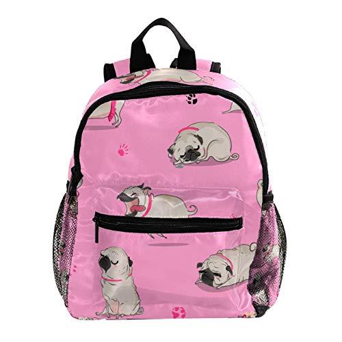 Linda Mochila Animal Pug Paw Rosa Mochila Preescolar Mochila Escolar para niños Mochila para niños 25.4x10x30 CM