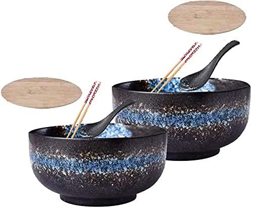 qwert Sopa De Cerámica Creativa Sopa De Cerámica Japonesa, Cuenco, Tazas Grandes De Corazón Profundo con Chelones De Tapa, Ramen, Pho, Nudelstup