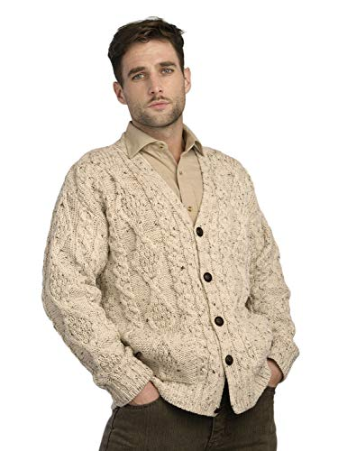 100% Irish Merino Fleck Wool V-Neck Button Aran Sweater by West End Knitwear, M